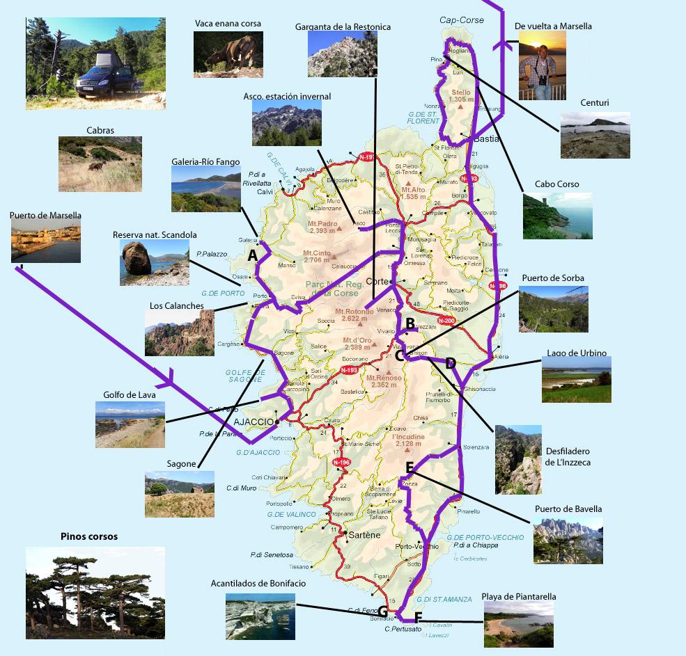 Mapa Corcega Y Cerdeña.Corcega